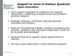 support to move to pasteur quadrant open innovation