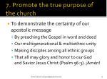 7 promote the true purpose of the church1