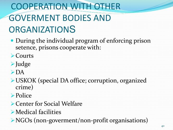COOPERATION WITH OTHER GOVERMENT BODIES AND ORGANIZATION