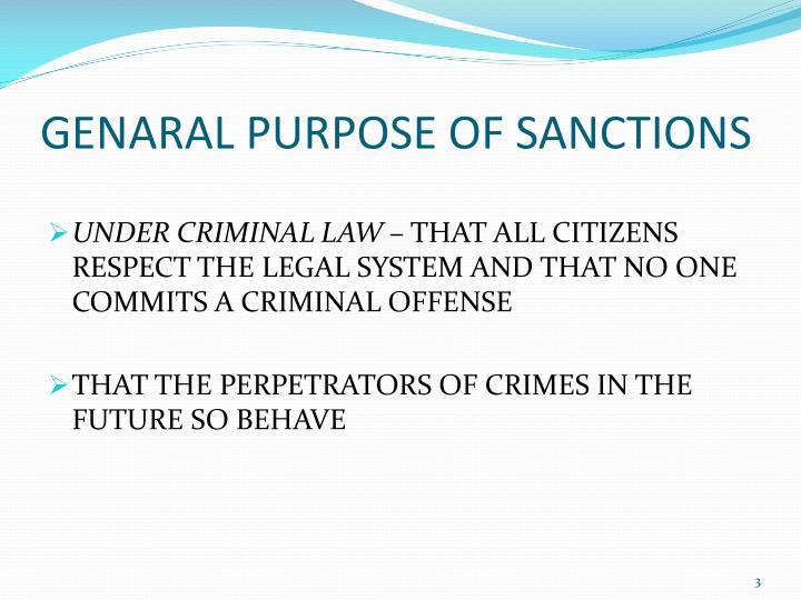 GENARAL PURPOSE OF SANCTIONS