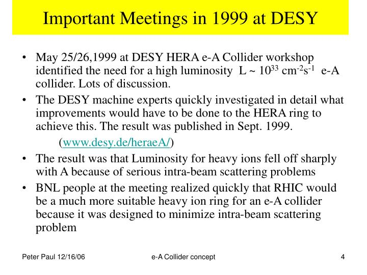Important Meetings in 1999 at DESY