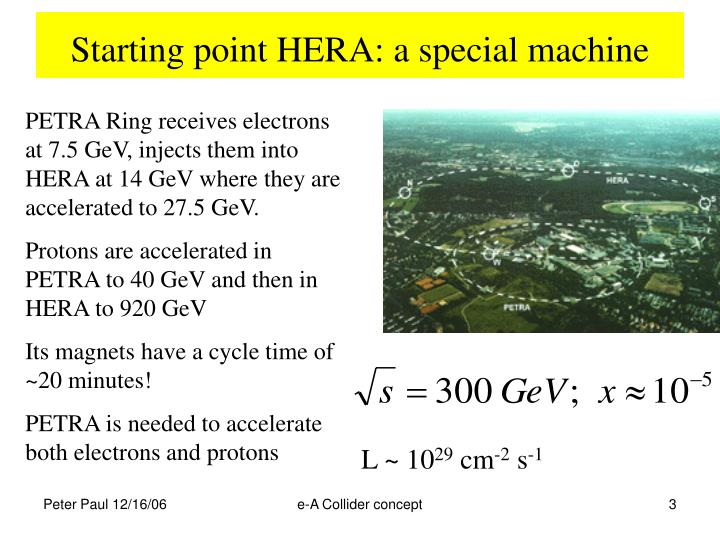 Starting point hera a special machine