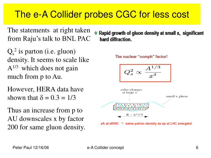 The e-A Collider probes CGC for less cost