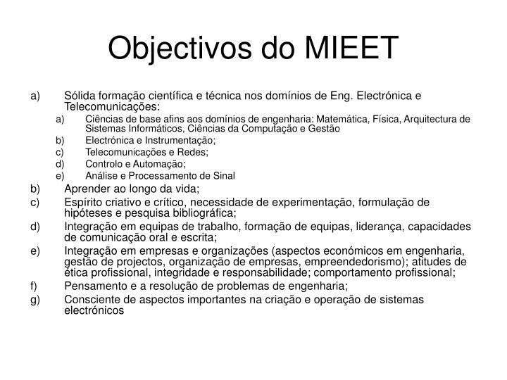 Objectivos do MIEET