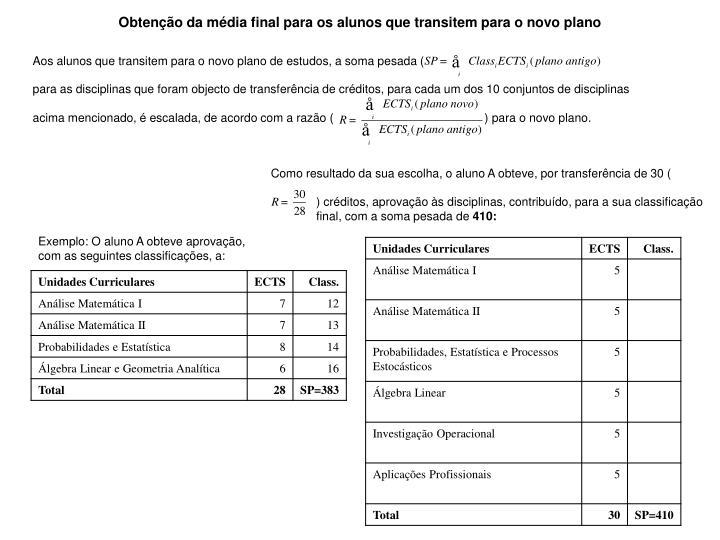 Obtenção da média final para os alunos que transitem para o novo plano