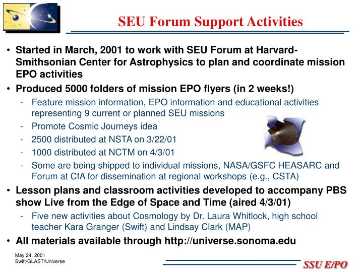 SEU Forum Support Activities