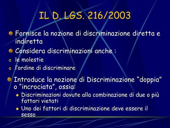 Fornisce la nozione di discriminazione diretta e indiretta