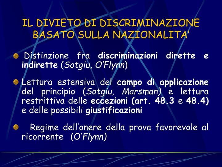IL DIVIETO DI DISCRIMINAZIONE BASATO SULLA NAZIONALITA'