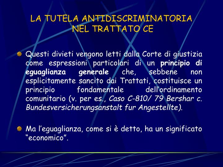 LA TUTELA ANTIDISCRIMINATORIA