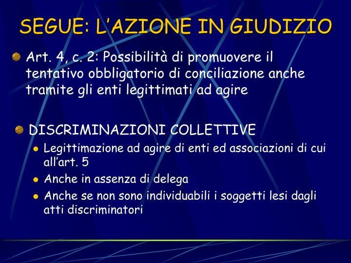 Art. 4, c. 2: Possibilità di promuovere il tentativo obbligatorio di conciliazione anche tramite gli enti legittimati ad agire