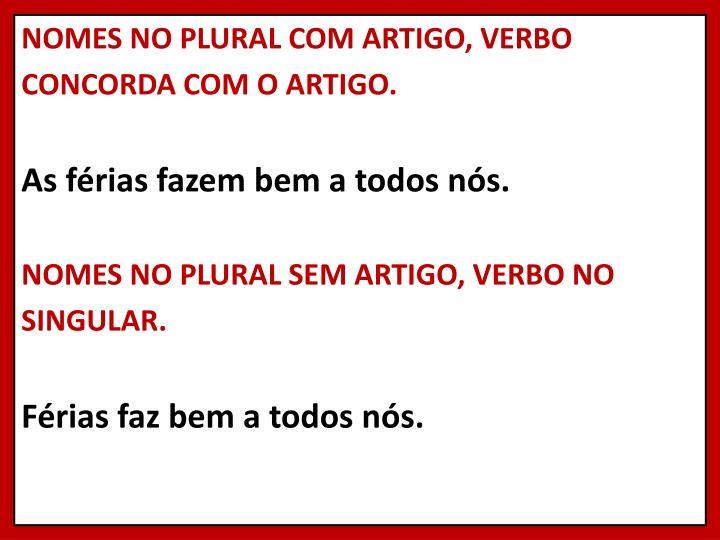 NOMES NO PLURAL COM ARTIGO, VERBO