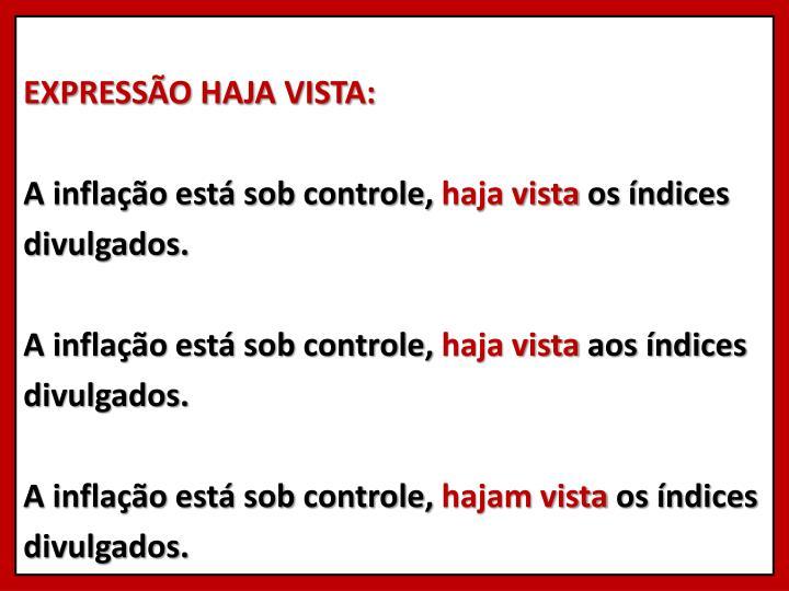 EXPRESSÃO HAJA VISTA: