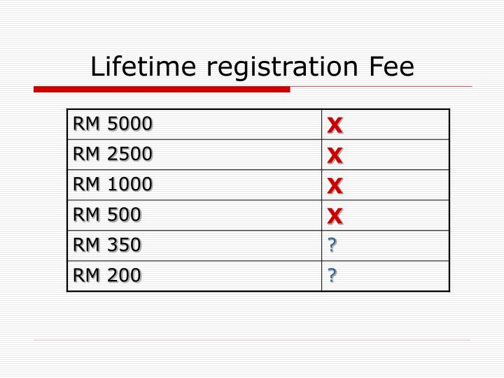 Lifetime registration Fee