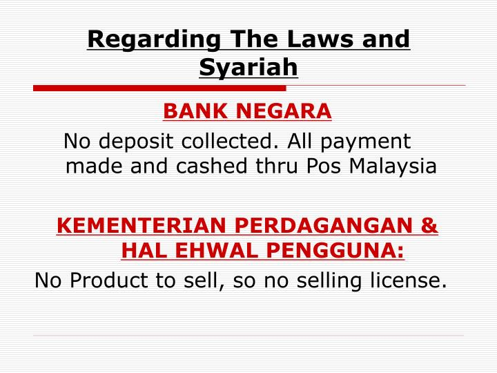 Regarding The Laws and Syariah