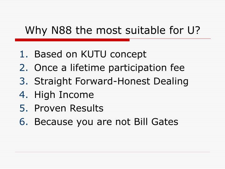 Why N88 the most suitable for U?