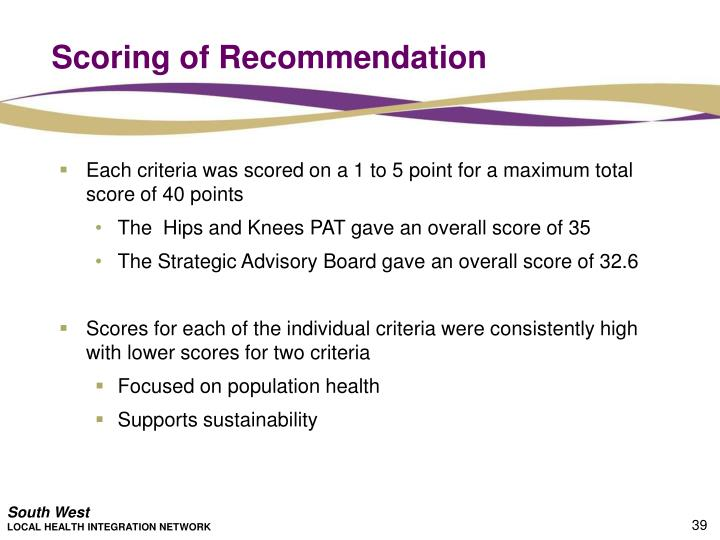 Scoring of Recommendation