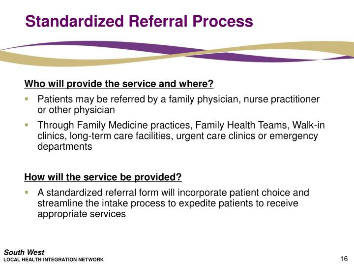 Standardized Referral Process