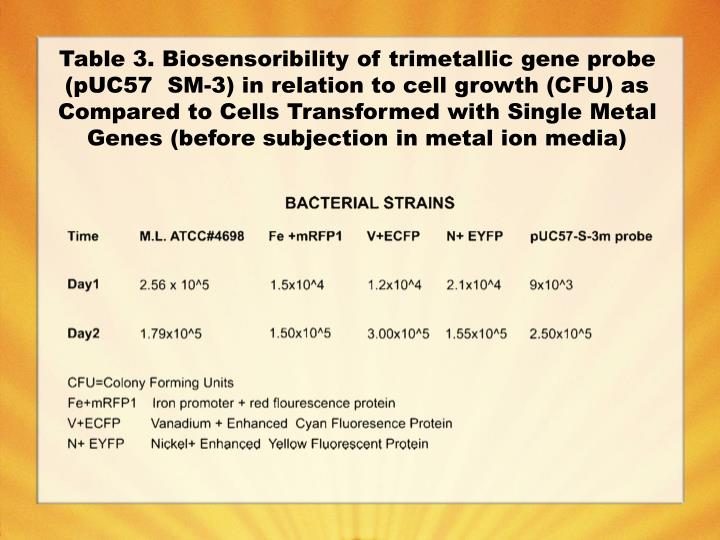 Table 3. Biosensoribility of trimetallic gene probe (pUC57  SM-3) in relation to cell growth (CFU) as Compared to Cells Transformed with Single Metal Genes (before subjection in metal ion media)