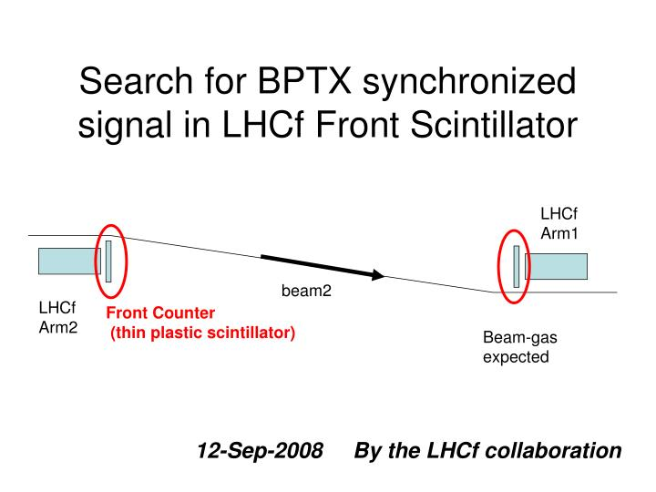 Search for BPTX synchronized signal in LHCf Front Scintillator