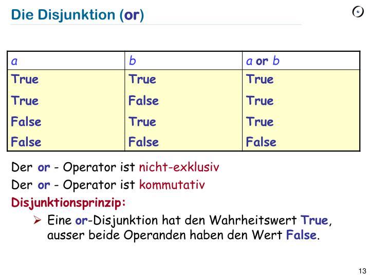 Die Disjunktion (