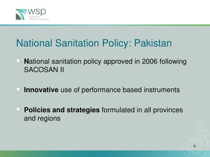 National Sanitation Policy: Pakistan
