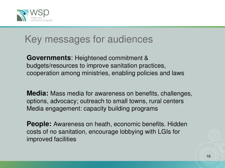 Key messages for audiences