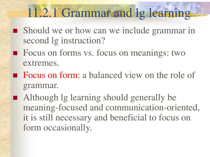 11.2.1 Grammar and lg learning