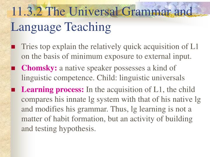 11.3.2 The Universal Grammar and Language Teaching