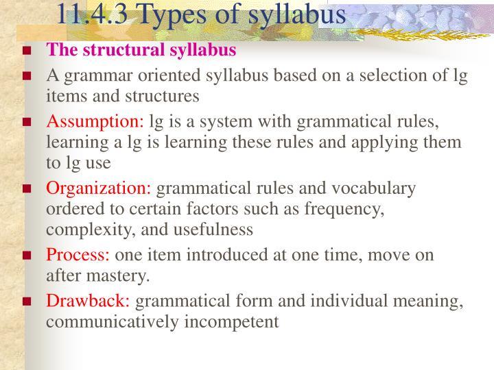 11.4.3 Types of syllabus
