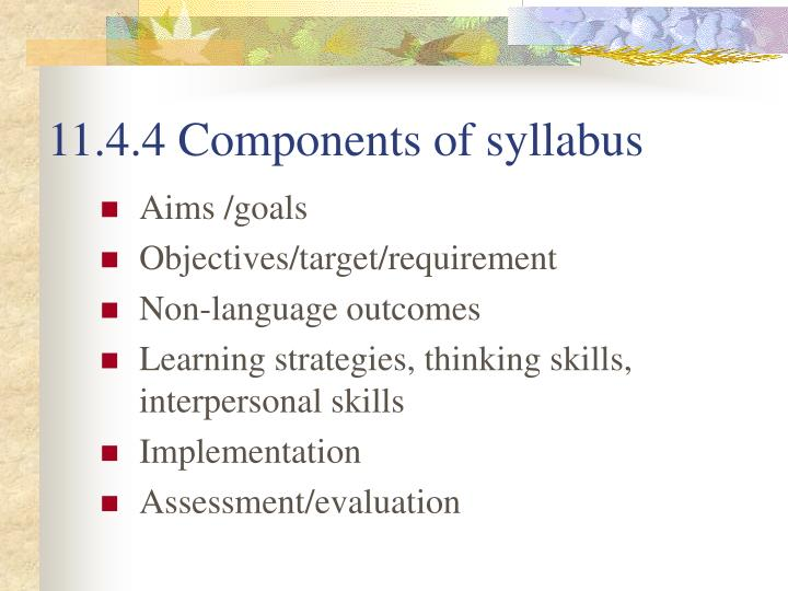 11.4.4 Components of syllabus