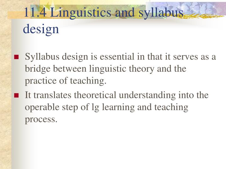 11.4 Linguistics and syllabus design