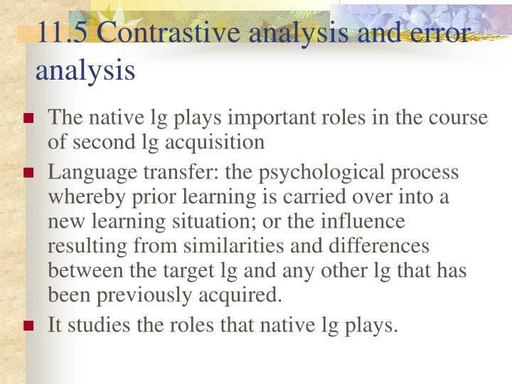 11.5 Contrastive analysis and error analysis
