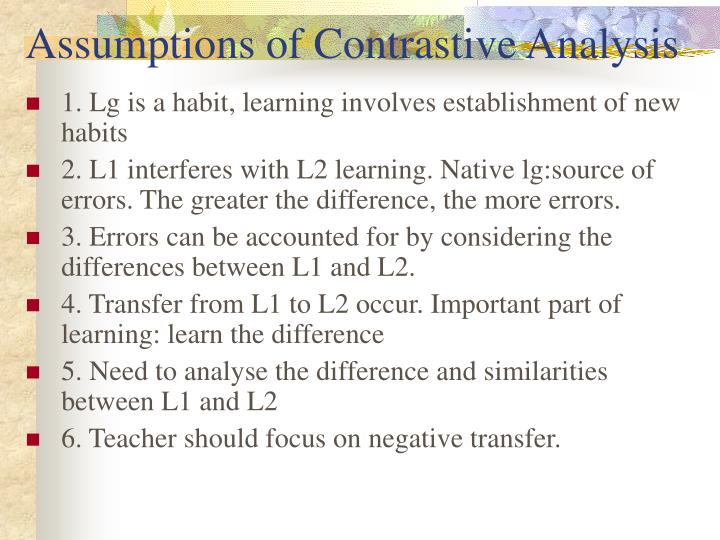 Assumptions of Contrastive Analysis
