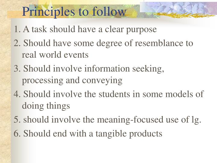 Principles to follow