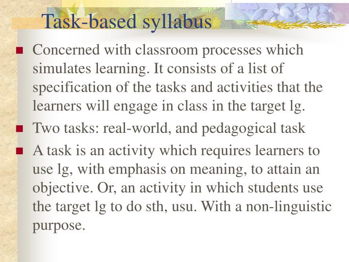 Task-based syllabus