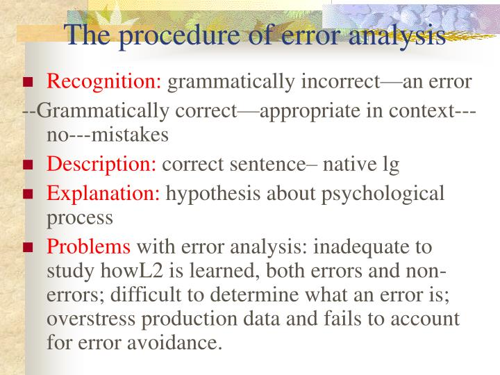 The procedure of error analysis