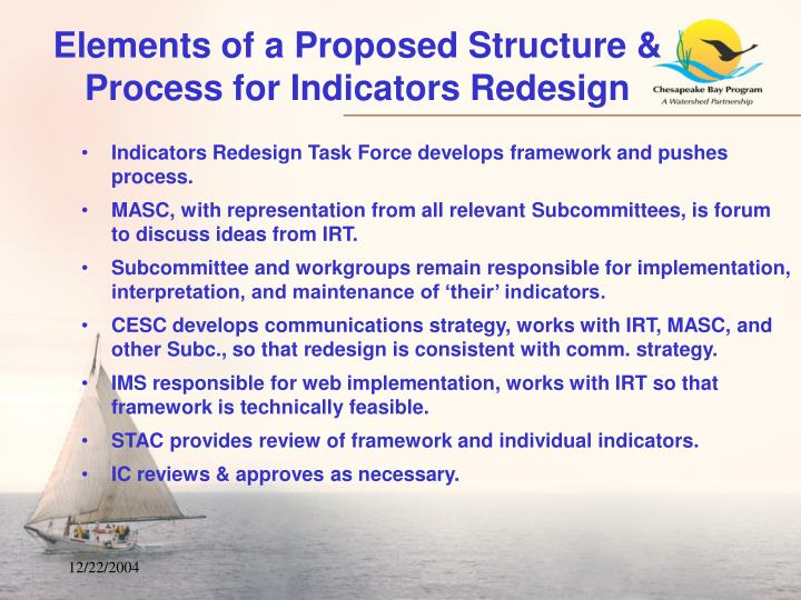 Elements of a Proposed Structure & Process for Indicators Redesign