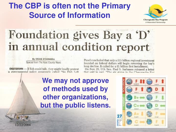 The CBP is often not the Primary Source of Information
