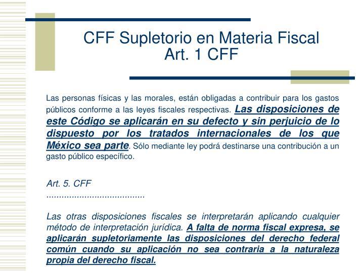 CFF Supletorio en Materia Fiscal