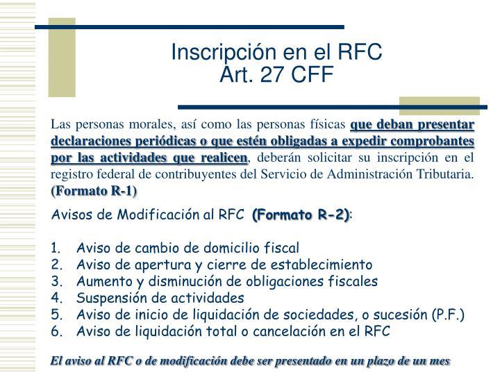 Inscripción en el RFC