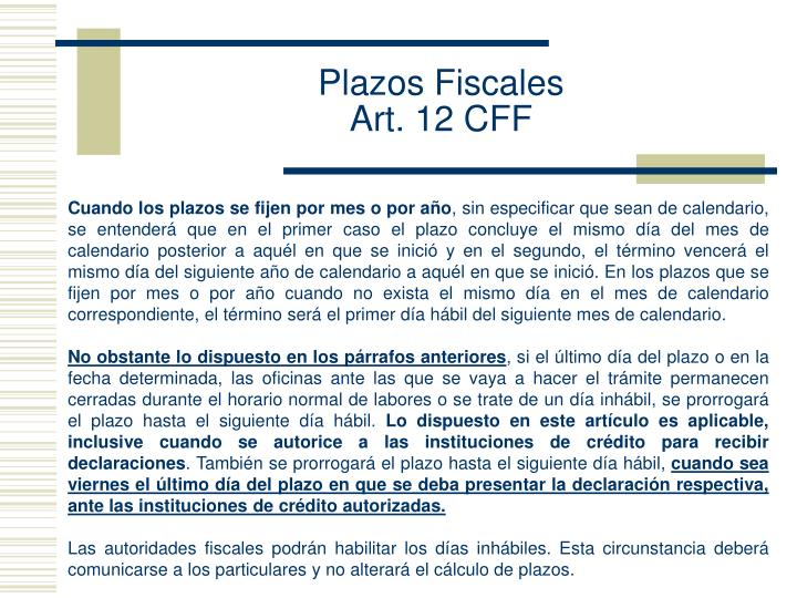 Plazos Fiscales