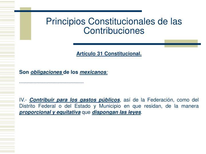 Principios Constitucionales de las Contribuciones