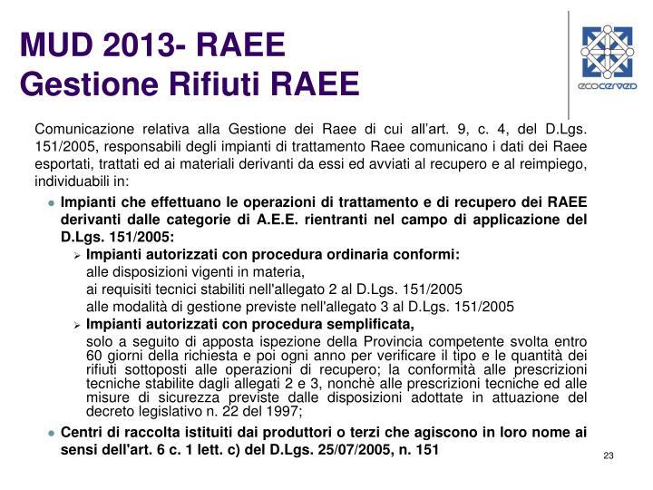 MUD 2013- RAEE