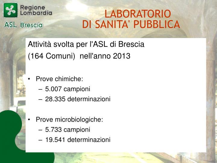 Attività svolta per l'ASL di Brescia