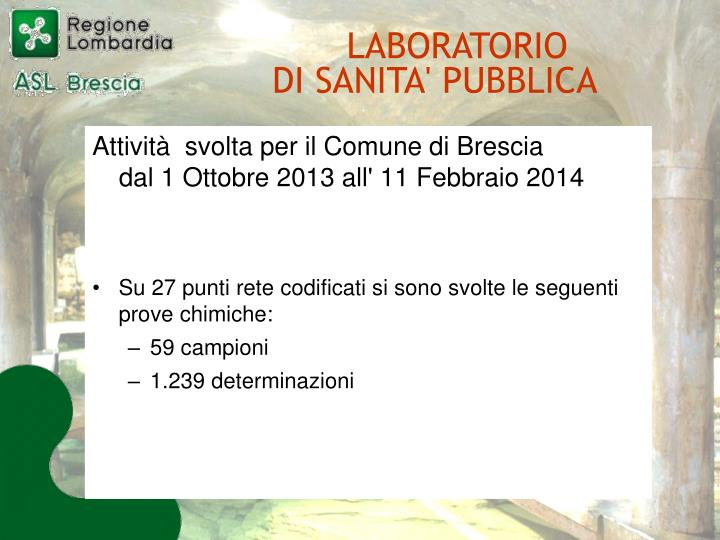Attività  svolta per il Comune di Brescia           dal 1 Ottobre 2013 all' 11 Febbraio 2014