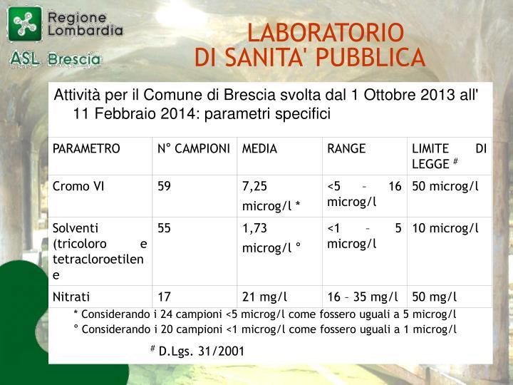 Attività per il Comune di Brescia svolta dal 1 Ottobre 2013 all' 11 Febbraio 2014: parametri specifici
