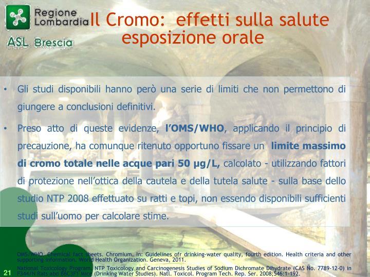Il Cromo: effetti sulla saluteesposizione orale