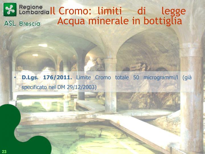 Il Cromo: limiti di legge Acqua minerale in bottiglia