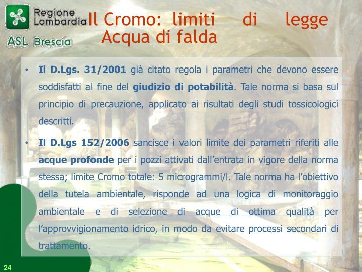 Il Cromo: limiti di legge Acqua di falda