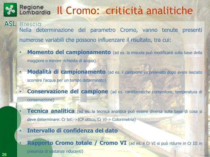 Il Cromo: criticità analitiche